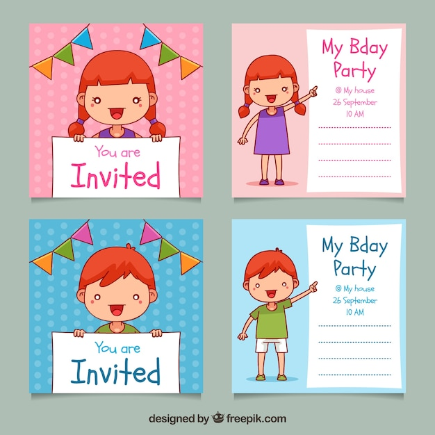 Set of four hand drawn square birthday invitations Free Vector