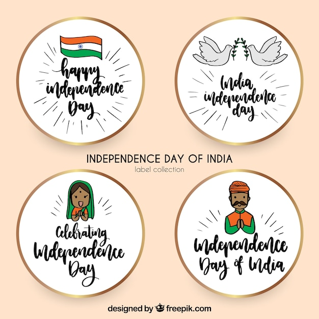 Set of four indian independence day stickers