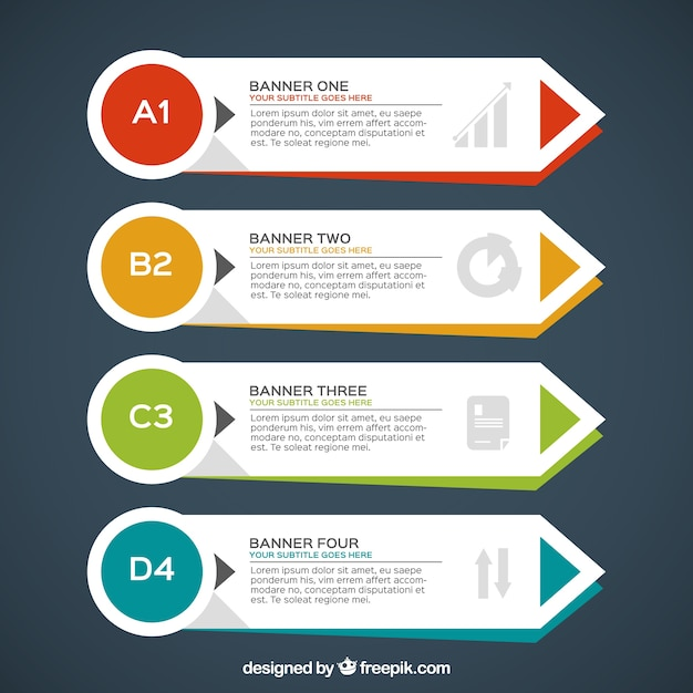 Set of four infographic banners with geometric forms