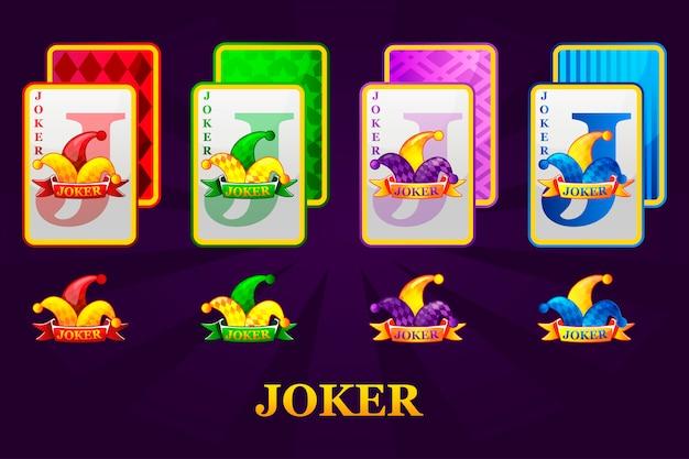 Набор из четырех джокеров игральных карт подходит для покера и казино. joker poker символы для казино и графического интерфейса. Premium векторы