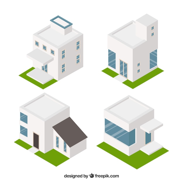 Set of four modern houses in isometric style Free Vector