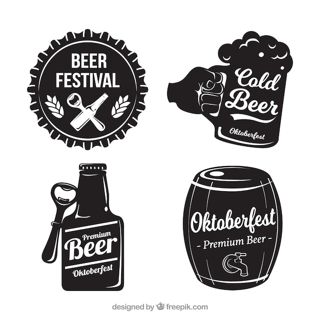 Set of four oktoberfest vintage stickers Free Vector