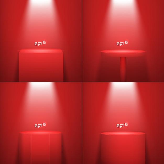 Набор из четырех реалистичных платформ с красной подсветкой Premium векторы