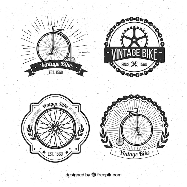 Set of four retro bicycle badges