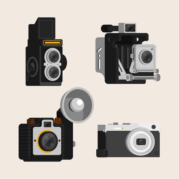 Set of four retro cameras in flat design
