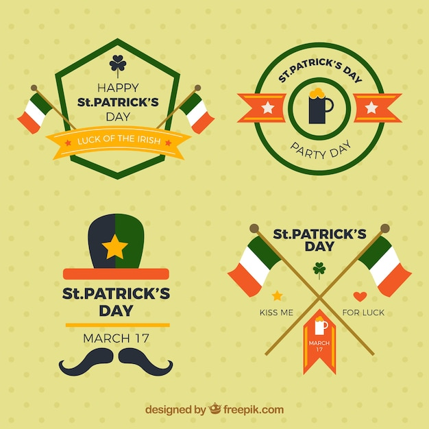 Set of four saint patrick's day badges