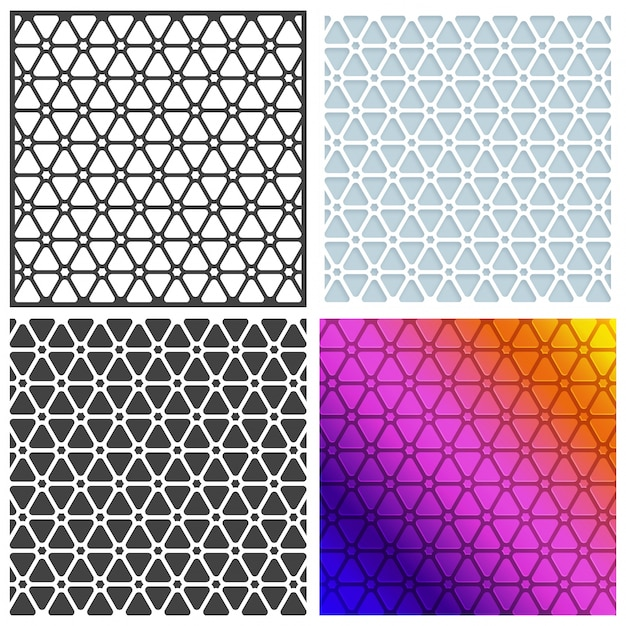 Set of four seamless patterns, Creative abstract artistic backgrounds or floral textures.