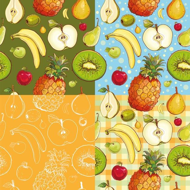 Набор из четырех бесшовные модели с киви, ананасом, бананом, яблоком, грушей. Premium векторы