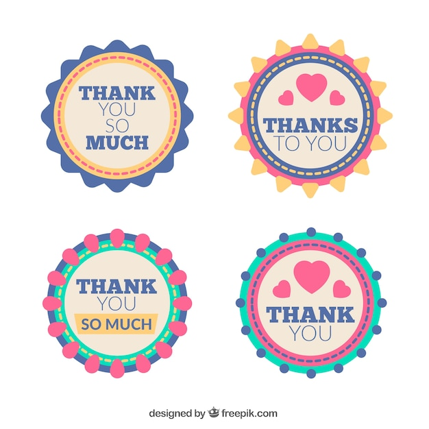 Set of four thank you stickers in retro style