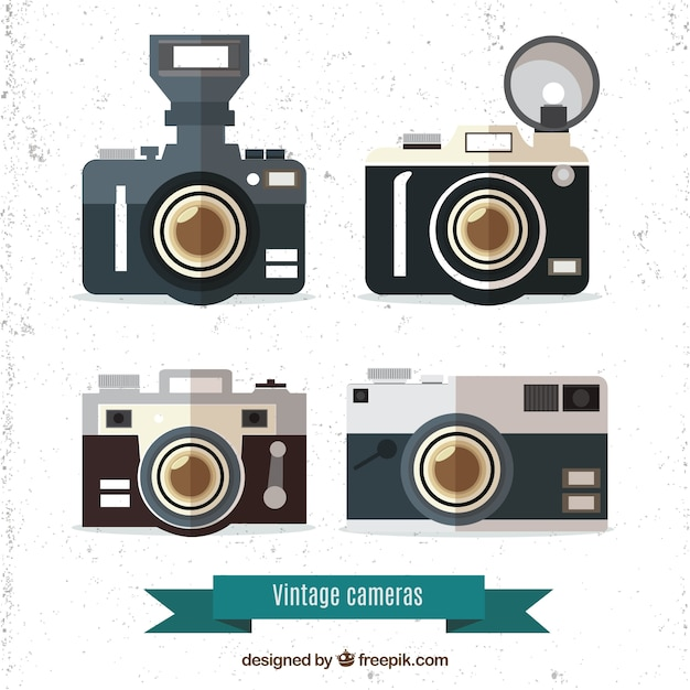 Set of four vintage cameras in flat design
