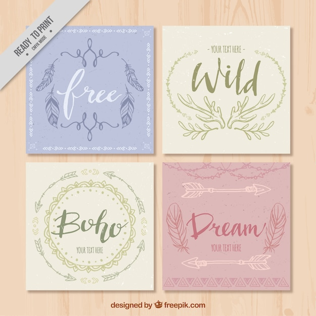 Set of four vintage greeting cards in boho style vector free download set of four vintage greeting cards in boho style free vector m4hsunfo