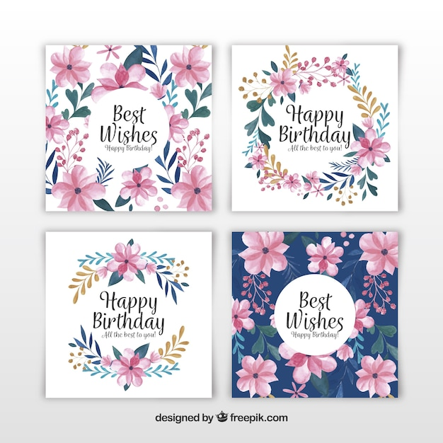 Set Of Four Watercolour Birthday Cards With Flowers Free Vector