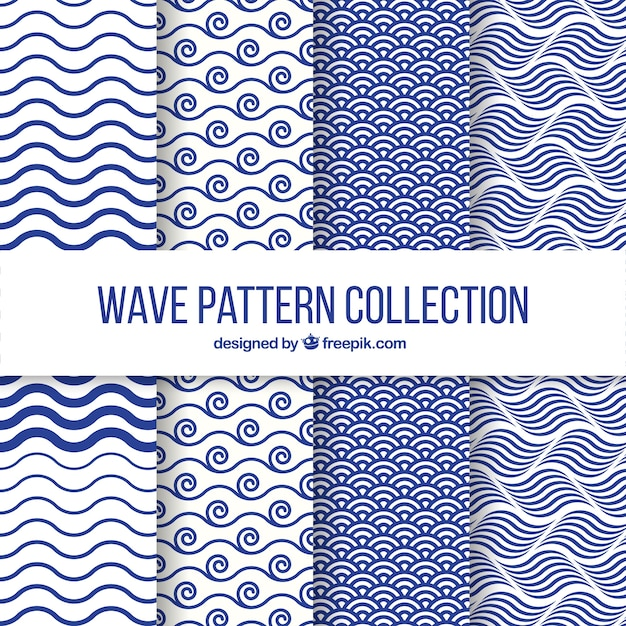 Set Of Four Wave Patterns In Flat Design Vector Free Download Simple Patterns And Designs