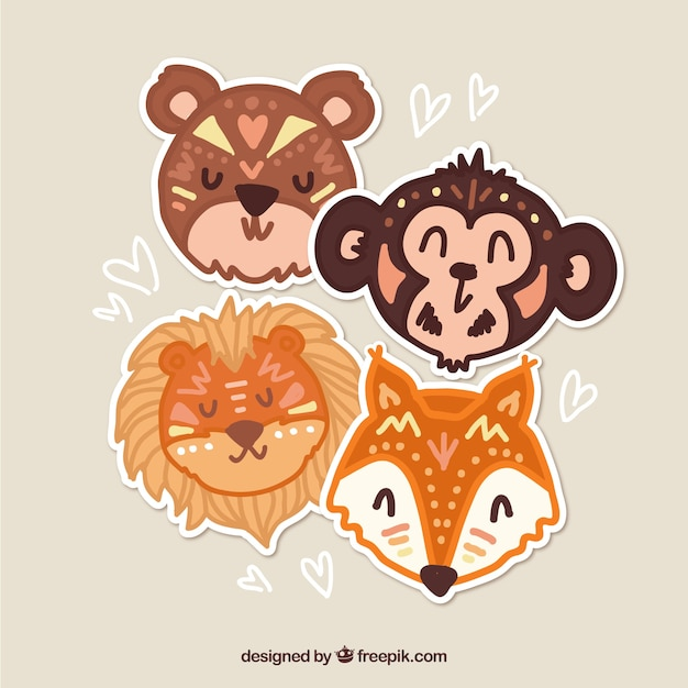 Set of four wild animal stickers in ethnic\ style