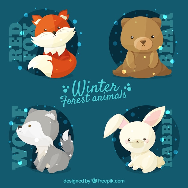 Set of four winter animals