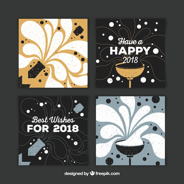 Set of fours nice hand drawn greeting cards for new year