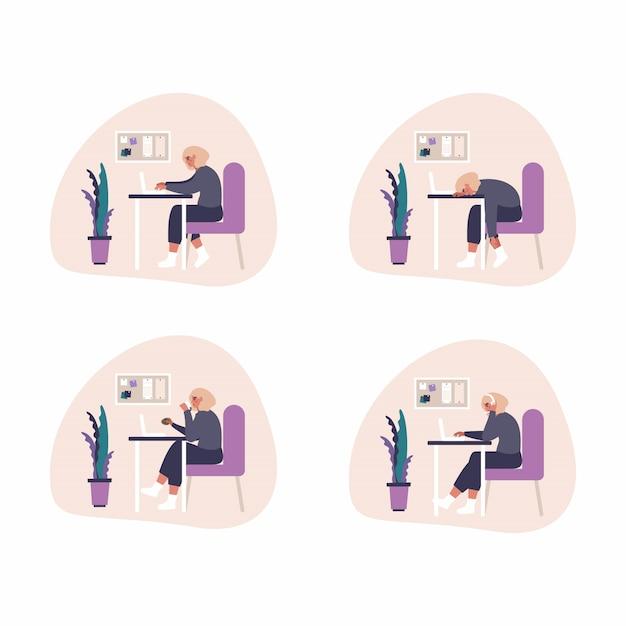 自宅でのフリーランスの仕事のコンセプトイラスト-ヘッドセットを持つ女性は、自宅のラップトップで働いています。ホームオフィスでの作業工程のフラットのイラスト。 Premiumベクター