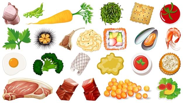 生鮮食品食材のセット 無料ベクター