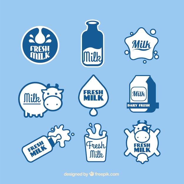 新鮮な牛乳のステッカーのセット Premiumベクター