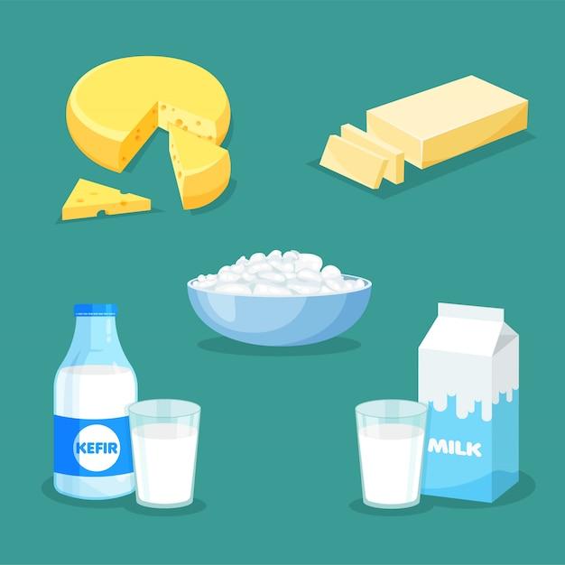 新鮮な天然乳製品のセットです。トレンディなフラットスタイルのベクトルミルク、バター、チーズ、ケフィア、カッテージチーズ。分離された農産物 Premiumベクター