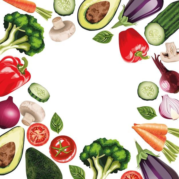Набор свежих овощей вокруг кадра Premium векторы