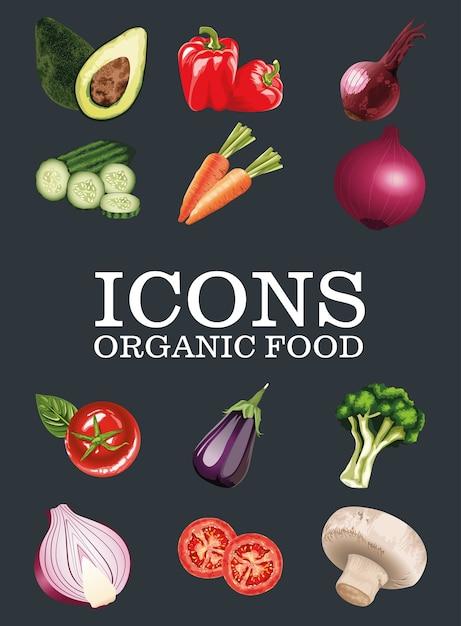 Набор свежих овощей на черном фоне Premium векторы
