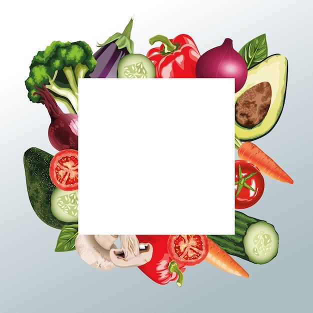 Набор свежих овощей в квадратной рамке Premium векторы