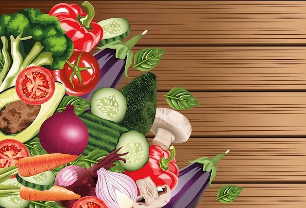 Набор свежих овощей в деревянных фоне Premium векторы