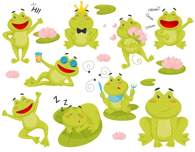 さまざまなアクションでカエルのセット。面白い緑のヒキガエルの漫画のキャラクター Premiumベクター