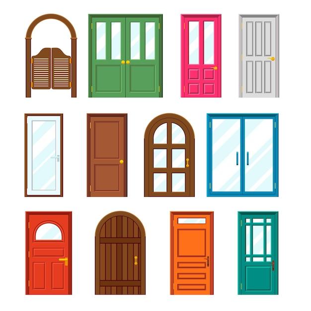 フラットスタイルの正面玄関ドアのセット。 無料ベクター
