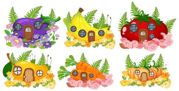 果物と野菜の妖精の家のセット 無料ベクター