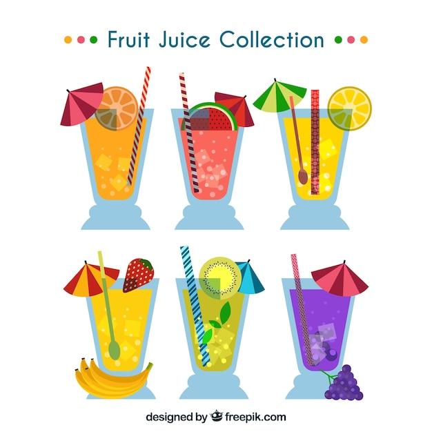 Set of fruit juice in flat design