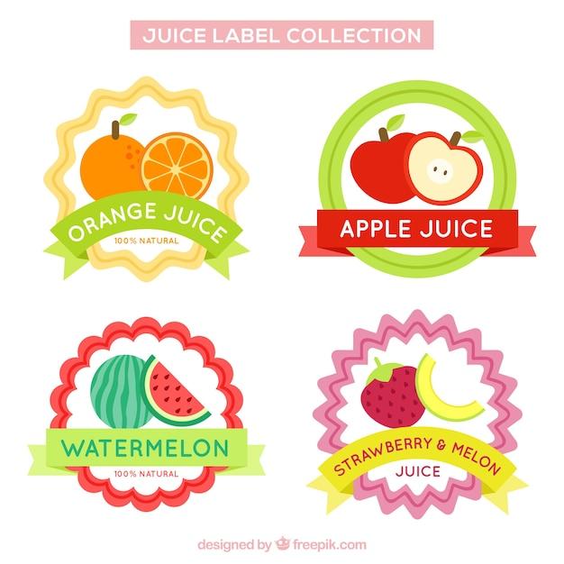 Set of fruit juice stickers