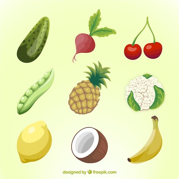 مجموعه ای از میوه ها و سبزیجات