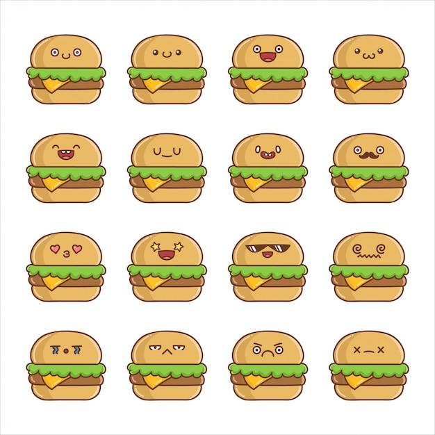 楽しいカワイイチーズハンバーガー漫画のセット Premiumベクター