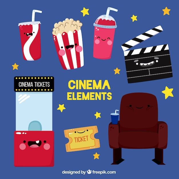 Set Of Funny Cartoon Movie Objects Vector Free Download