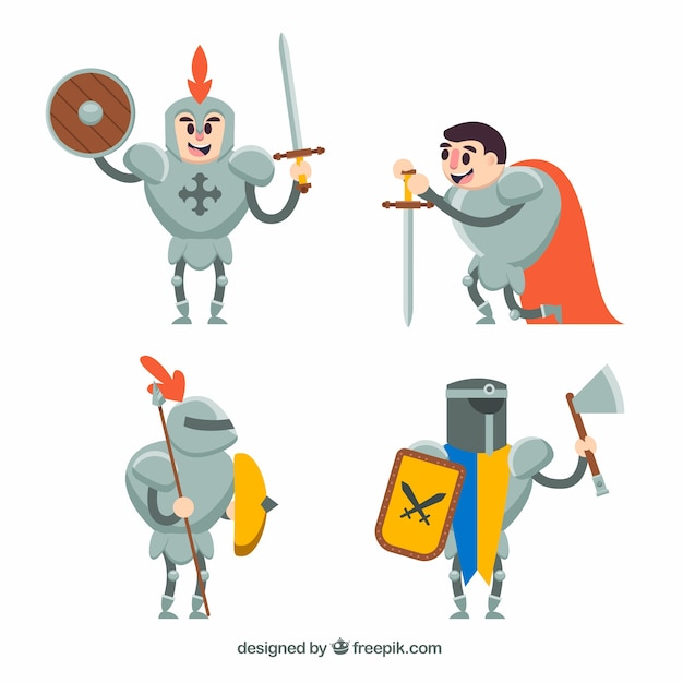 Set of funny knight characters