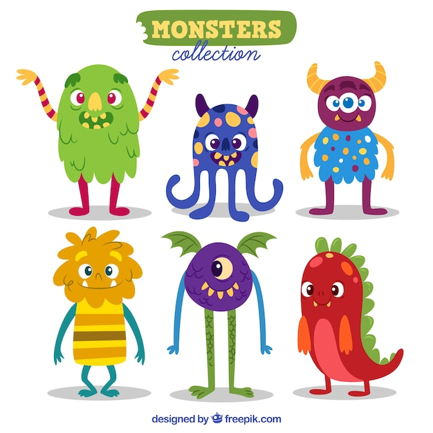 Set of funny monsters character Free Vector