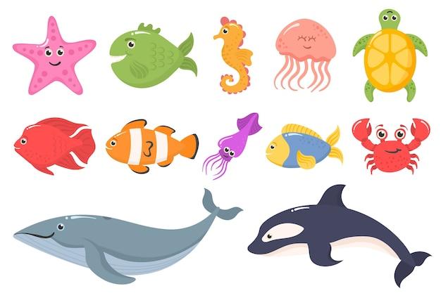 白い背景で隔離の面白い海の動物のセットです。海洋生物。海洋動物と水生植物。水中の生き物セットが分離されました。面白い漫画のキャラクター。 Premiumベクター