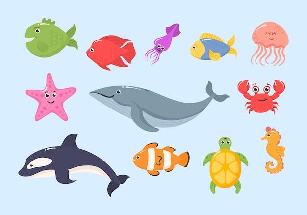 白い背景で隔離の面白い海の動物のセットです。海洋生物。海洋動物と水生植物。水中クリーチャーセットが隔離されました。面白い漫画のキャラクター。 Premiumベクター