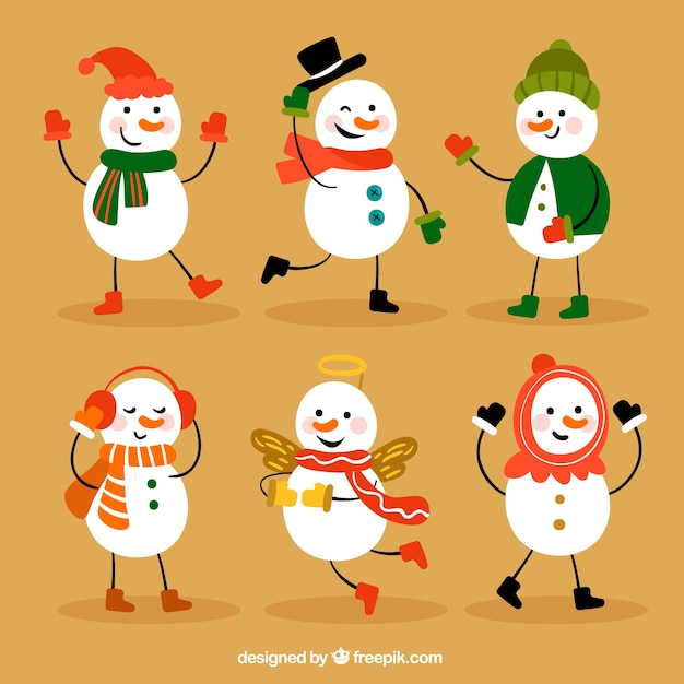 Set of funny snowman characters