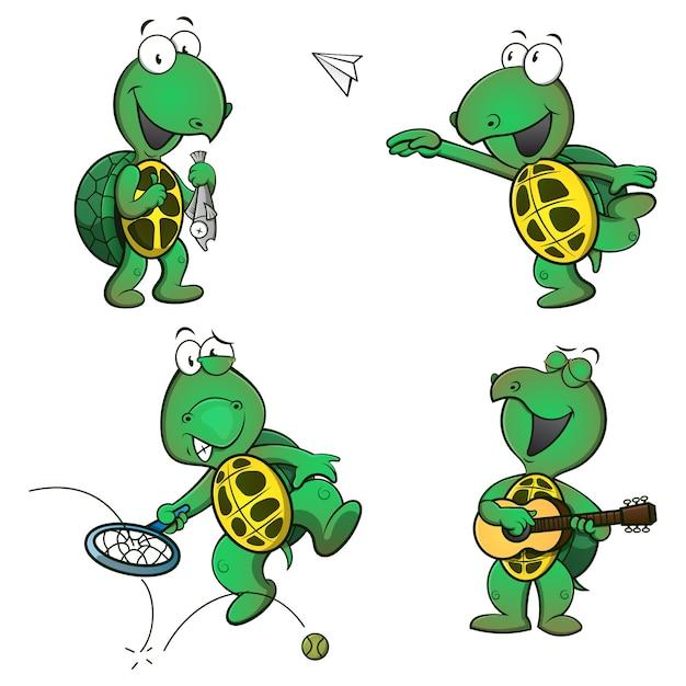 釣り、紙飛行機、テニス、ギターをしながら面白いカメの漫画のキャラクターのセット Premiumベクター