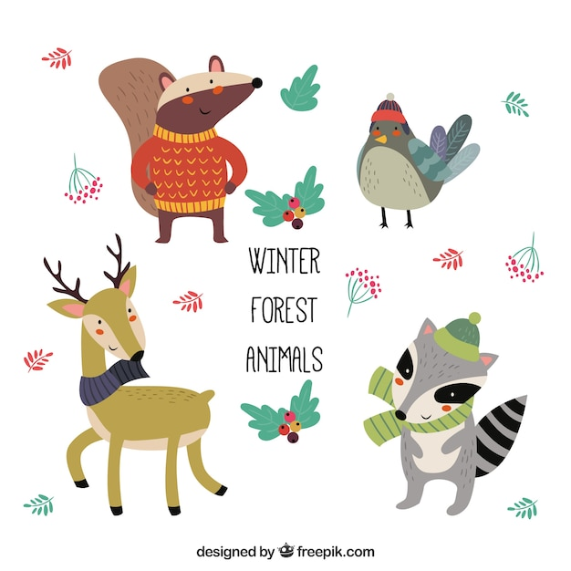 Set of funny winter animals