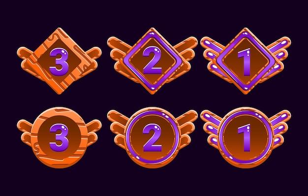 面白い木製ゼリーゲームuiアワードのセットは、gui資産要素のメダルをランク付けします Premiumベクター