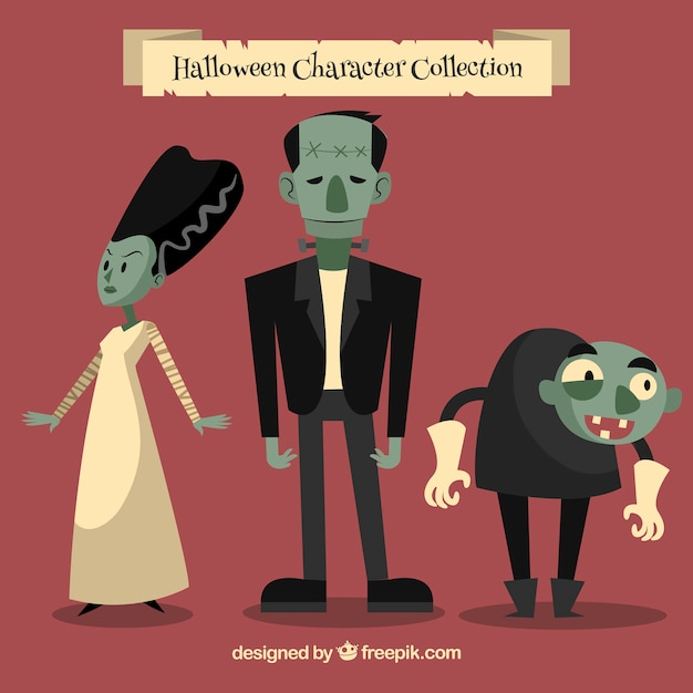 Set of funny zombies in vintage style