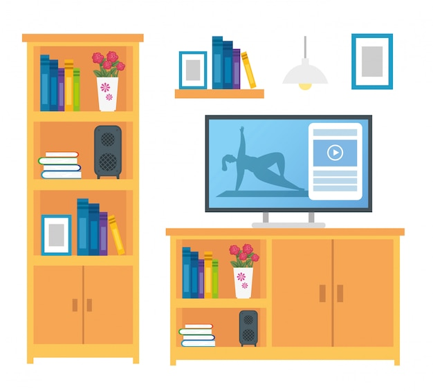 家具の装飾とアイコンのセット 無料ベクター