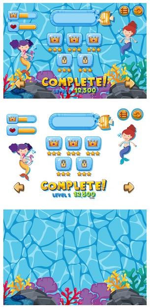 Набор игрового шаблона с русалками под водой Premium векторы