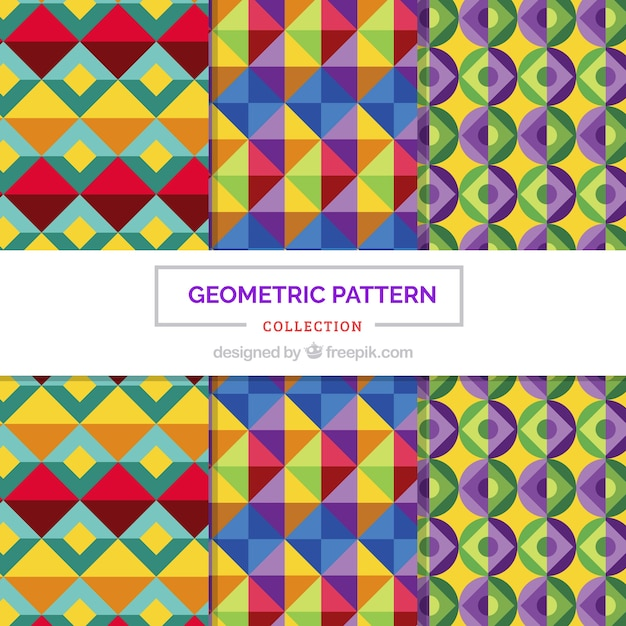 Set of geometric colorful patterns in flat design