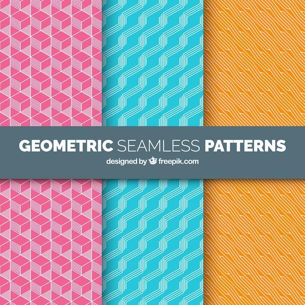Set of geometric decorative patterns