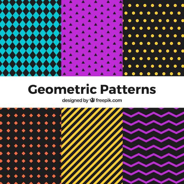 Set of geometric halloween patterns Free Vector